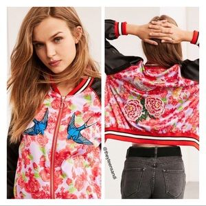 Urban Outfitters Silky Embroidered Bomber Jacket